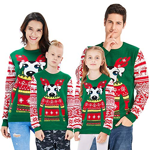 Loveternal Hund Grafik Christmas Pullover Ugly Christmas Sweater Gestrickte Knit Crewneck Xmas Jumper für Jungen Mädchen Alter 13-14 Jahre - Mädchen Kids Crewneck Sweatshirt
