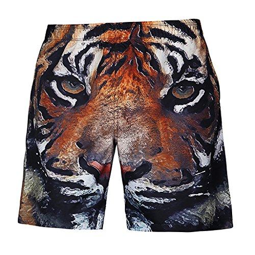 Prettyia Männer 3D Grafik Lässig Shorts Badeshorts Beachshorts Boardshorts Board Hosen Beachwear Schwimmen - Tiger 2XL, wie beschrieben (Boardshorts Mann Tiger)