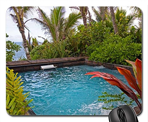 ZSMOUSE Tropical Jungle Spa Vasca idromassaggio in vegetazione Overlooking Beach Hawaiano sulla Big Island Mouse Pad, Mousepad (Beaches Mouse Pad)