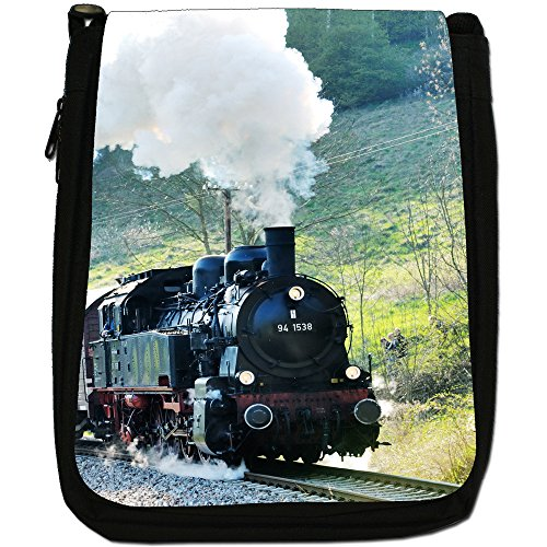 Treni a vapore-Borsa a tracolla in tela, colore: nero, taglia: M Nero (Black Steam Train)