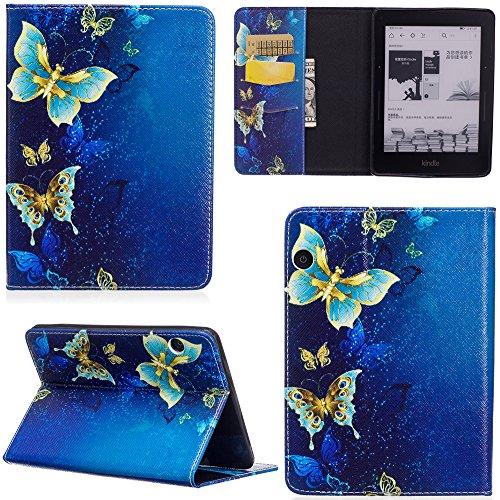 ge Hülle PU Leder Tasche Schutzhülle Cover Case Wallet Brieftasche Stand für Kindle Voyage - Schmetterling Gold ()
