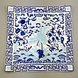 Generic Novelty Chinese Crane Pattern Dining Table Placemats Silk Fabric Square Waterproof non-slip Table Mat Embroidered protector Pad White