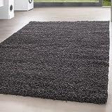 *Teppich* für Wohnzimmer günstig hochflor Shaggy Teppich mit verschiedenen Farben und Größen* Teppiche werden mit 100% PP Headset hergestellt. Gesamthöhe des Teppichs circa 30 mm. , Größe:160x230 cm, Farbe:Grau