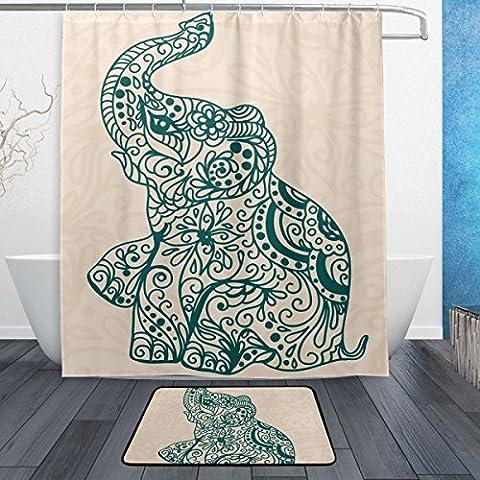 baihuishop Elefant Blume 3-teiliges Badezimmer Set, maschinenwaschbar für den täglichen Gebrauch, inkl. 152,4x 182,9cm Wasserdicht Duschvorhang, 12Dusche Haken und 1rutschfeste Badezimmer Teppich Carpet–Set von 3
