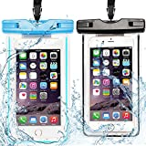 2x Custodia Impermeabile, CaseLover Borsa Sacchetto Impermeabile Cellulare Dry Bag Universale Fino a 6 Pollici Smartphone per Samsung Galaxy S8/ J7/ J5/ J3/ A7/ A5/ A3, Huawei P10/ P10 Lite/ P9 Lite/ P8 Lite, iPhone 7, 7 Plus, 6s / 6, 6s Plus / 6 Plus, SE 5S 5C, ASUS, LG, HTC, Sony Xperia, Waterphoof Cover Case - Blu + Nero