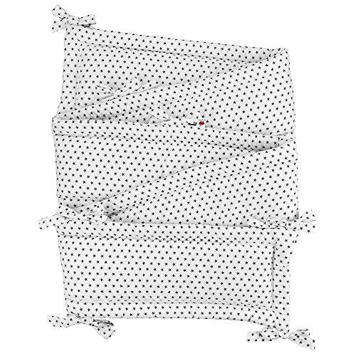 Sugarapple Rundum Nestchen, Bettnestchen & Bettumrandung in Sterne Grau, Länge 420 cm für Baby & Kinderbetten, 100% Baumwolle, Oeko Tex 100, Made in Germany