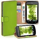 moex HTC One S | Hülle Grün mit Karten-Fach 360° Book Klapp-Hülle Handytasche Kunst-Leder Handyhülle für HTC One S Case Flip Cover Schutzhülle Tasche