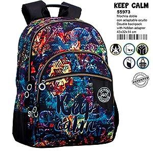 61OY9RERwUL. SS300  - Montichelvo Montichelvo Double Backpack A.O. CG Keep Calm Bolsa Escolar, 43 cm, Multicolor (Multicolour)