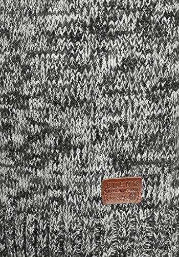 BLEND Teno Herren Strickpullover Feinstrick Troyer Pulli mit Stehkragen aus hochwertiger Baumwollmischung Meliert Black (70155)