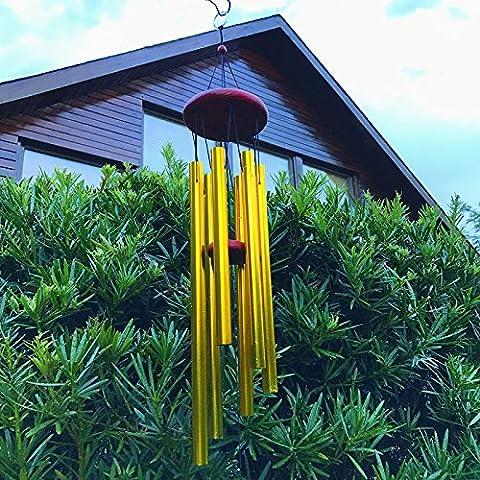 Wind Chimes 6Hohl Aluminium Metall Röhren groß aus Holz Windspiel für Yard Garten Outdoor Wohnzimmer