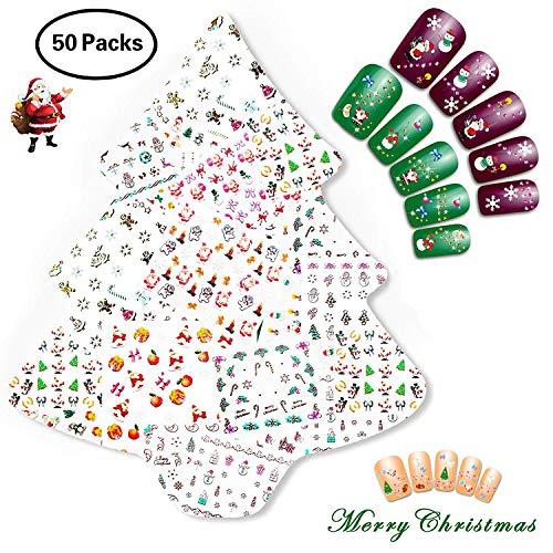 Nicedeco 50 Blatt (mehr als 1500 Stück) 3D Weihnachten Muster Nagel Sticker selbstklebende Aufkleber Tattoo Nail Art/Phone Case/Karten Deko -