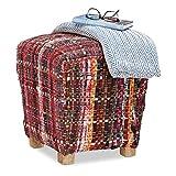 Relaxdays Hocker Stoff ohne Lehne, eckiger Pouf, Schottland Muster, gepolsterter Fußhocker mit Holzbeinen, 40x40 cm, rot