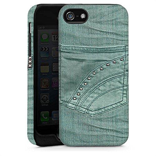 Apple iPhone 5 Housse Étui Protection Coque Aspect jeans Pantalon Fashion Cas Tough brillant