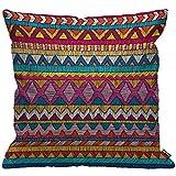 HGOD DESIGNS Kissenbezug Indisch Sari Bestickt Muster Ornament Bunt Ethnisch Und Stammesangehörige...