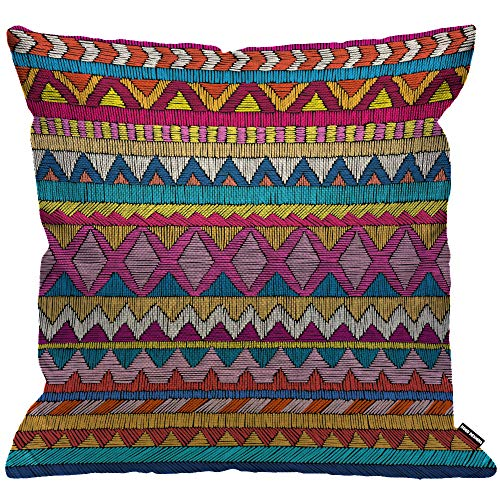 de18cb3421 HGOD DESIGNS Cushion Cover Indian Sari Embroidered Pattern Ornament  Colorful Ethnic and Tribal Throw Pillow Cover Home Decorative for  Men/Women/Boys/Girls ...
