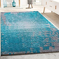 Alfombra De Diseño Para Salón Vintage Con Efecto Salpicado Jaspeada En Gris Y Turquesa, tamaño:80x150 cm