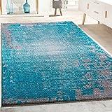 Designer Teppich Wohnzimmer Vintage Mit Splash Muster In Grau Türkis Meliert, Grösse:80x150 cm