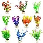LAAT 10pcs Artificial Aquatic Plant Decoration for Aquarium Plastic Fish Tank Plants Accessories (2) 10