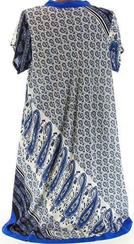Charleselie94® - Robe ample bohème ethnique grande taille été bleu royal CORALIE BLEU Bleu