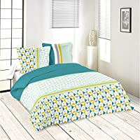 Parure de lit motifs géométriques bleu jaune gris 260x240 housse de couette  + 2 taies 63x63 2df3e61ec36a