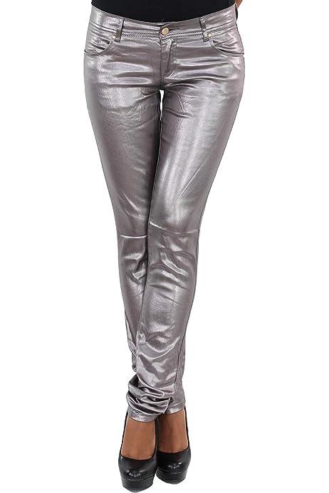 SOTALA Damen Kunstleder Hose Biker Leder Optik Röhrenhose Slim Fit Skinny Silber