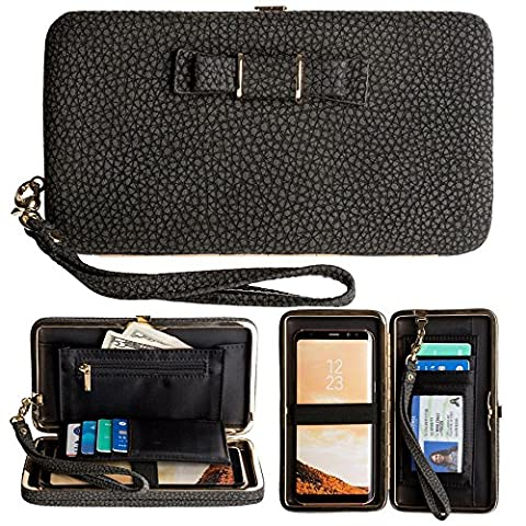 CellularOutfitter Bow Clutch Wallet w/ Hideaway Wristlet - Built-In Card and Money Pockets - Black