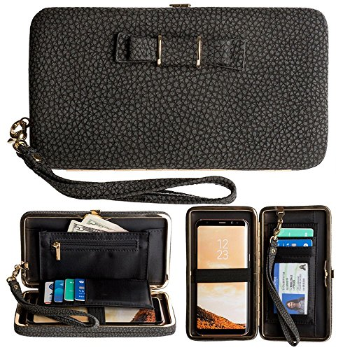 CellularOutfitter Bow Clutch Wallet w/ Hideaway Wristlet - Built-In Card and Money Pockets - Black (Grain Pebble Black)