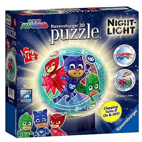 Ravensburger 3D Puzzle Ball mit Nachtlicht Pyjamahelden | PJ Masks