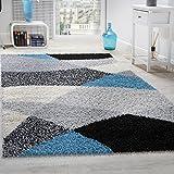 Paco Home Tapis Shaggy Longues Mèches Hautes Motifs Gris Noir Blanc Turquoise, Dimension:140x200 cm