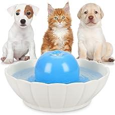 iPettie Trinkbrunnen Keramik für Katzen Hunde Haustier Automatisch Wasserbrunnen mit Kohlefilter 2,1L Katzenbrunnen Wasserspender Brunnen Katze Keramik Filter Pet Fountain