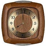 Robuste AMS Funkuhr mit moderner Funktechnik, Eckige Funkwanduhr - rustikales Wanduhr-Design mit Holzgehäuse, Küchenuhr Wohnzimmeruhr mit Sekundenzeiger