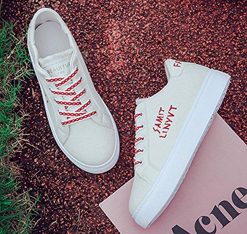 Aisun Femme Confortable Basse Bout Rond à Lacets Sneakers Rouge