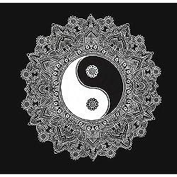 Ying Yang – Arazzo da parete 147 x 147 cm indiano panno Mandala – Tappeto da parete psichedelico orientale nero bianco bohemian stile boho copriletto decorativo