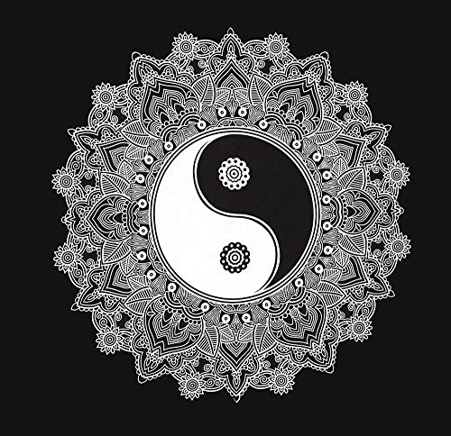 "YING YANG Wandbehang 147x147cm Indisches Tuch Mandala Wandteppich psychedelic orientalisch schwarz weiß bohemian Boho Stil style Tagesdecke Dekotuch\""EINWEG\""-verpackt"