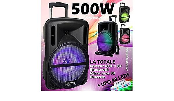 Pack Karaok/é Enceinte SONO Usb Bluetooth avec jeux de lumi/ère int/égr/é 2 Micros PA SONO DJ id/éal fiesta anniversaire bar club disco