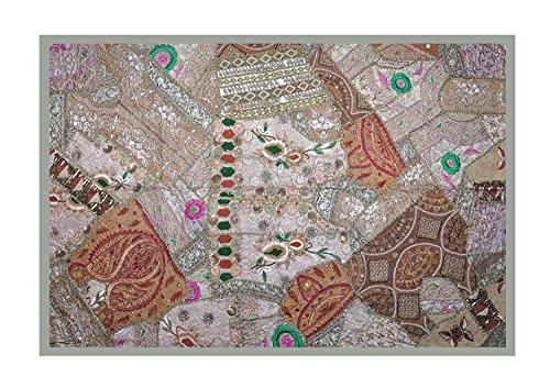 Indian New Design Home Dekorative Wandbehang mit Thread Stickereien, Pailletten, Zari & Patchwork Vintage-Abbildung Art, 152 x 101 cm Zari Thread