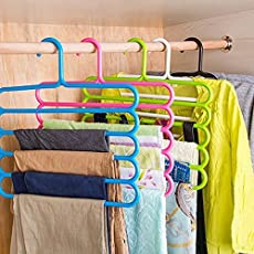 Vastra 5 Pcs Multipurpose 5 Layer Hanger for Shirts, Ties, Pants, Jeans, T-Shirt, Sarees, Suits Space Saving Hanger, Cupboard Organiser, Strong