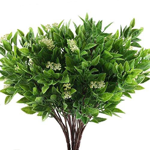 MIHOUNION 4 Pcs kunstblumen deko unechte Blumen Plastikblumen Blumen Kunststoff künstliche grünpflanze kunstblumen Busch für draussen Topf Balkon Garten Hochzeit deko grün&Gelb