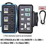 eFonto/JJC Memory Card Case Water-resistance Carrying Holder for 6 SD + 6 Micro SD + 2 SIM + 4 Micro SIM +4 Nano SIM…