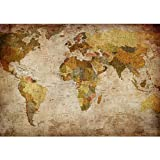 Vlies Fototapete PREMIUM PLUS Wand Foto Tapete Wand Bild Vliestapete - VINTAGE ATLAS - Weltkarte Antik Atlaskarte Atlanten Karte alte Karte alter Atlas - no. 029, Größe:400x280cm Vlies