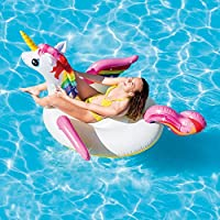 """Intex 79"""" Giant Inflatable Unicorn Water Float Raft Ride On Pool Lounger Novelty Beach Toy"""