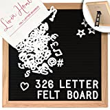 Livia Home Letter Board Sign - Black Felt with 326 White Plastic Changeable Characters - Wooden 10 x 10 inch Square Sign with Light Oak Frame - 7x5 inch Canvas Storage Bag - Retro Desktop Display