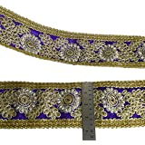 Azul 8,8 cm de ancho de la tela bordada de la cinta decorativa del ajuste Sari Border Por 1 Yard