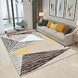 DAN&DLAM Tapis Contemporain Pile Courte Droite Tapis coloré de Salon avec Contours Modèle Triangle avec des Couleurs Pastel (Taille: 120 * 160CM)