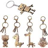 Animale Portachiavi Carino Set, Portachiavi Robot Orso Giraffa Gufo Cavallo Simpatico Portachiavi Regalo Portachiavi Clip per