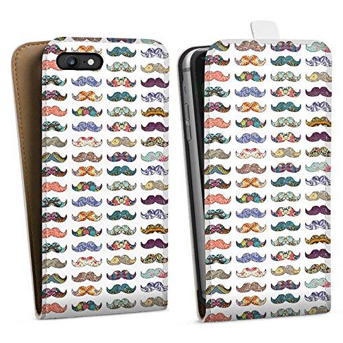 Apple iPhone X Silikon Hülle Case Schutzhülle Schnurrbart Hipster Muster Downflip Tasche weiß
