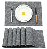 PVC Platzsets Famibay Abwischbar Plastik Tischsets 6er set Rutschfest Hitzebeständig Platzdeckchen(Schwarz)