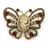Vintage inspiriert Tan Farbige Cameo Brosche Schmetterling in Antik Gold Tone–65mm W