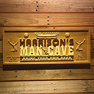 AdvPro Wood Custom wpa0110 Name Personalized Football Man Cave Beer Bar Wood Engraved Wooden Sign - Medium 46 cm x 18 cm