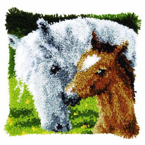 Vervaco Stute mit Fohlen Knüpfkissen mit Knüpfhaken, Baumwolle, Mehrfarbig, 40 x 40 x 1 cm -